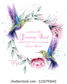 Greeting card with watercolor humming bird frame. Vector