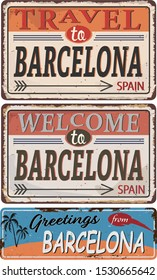 Greeting card Welcome from Barcelona Spain, for print or web, authentic looking souvenir.