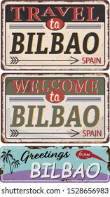 Greeting card Welcome from Bilbao Spain, for print or web, authentic looking souvenir.