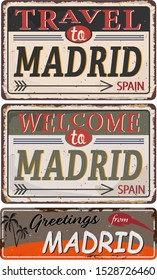 Greeting card Welcome from Madrid Spain, for print or web, authentic looking souvenir.