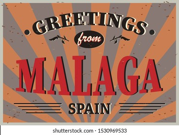 Greeting card Welcome from Malaga Spain, for print or web, authentic looking souvenir.