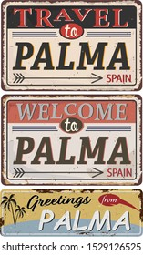 Greeting card Welcome from Palma Spain, for print or web, authentic looking souvenir.