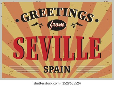 Greeting card Welcome from Seville Spain, for print or web, authentic looking souvenir.