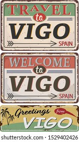 Greeting card Welcome from Vigo Spain, for print or web, authentic looking souvenir.