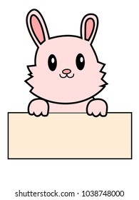Greeting card with with white Easter rabbit. Funny bunny character concept . Easter Bunny cute character design.