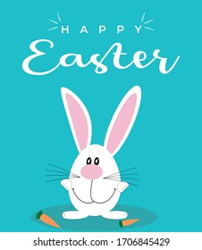 Greeting card with with white Easter rabbit. Funny bunny. Easter Bunny. Easter bunny on blue background. Vector illustration.