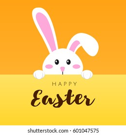 Greeting card with white Easter rabbit. Funny bunny in flat style. Easter Bunny. Happy easter lettering card with cute rabbit children vector illustration.
