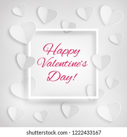 Greeting card with white hearts and a frame with inscription Happy Valentine's Day on white background. Paper design. Eps 10 vector.