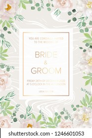 Greeting card with white roses and white peony on white marble background. Can be used as invitation card for wedding, birthday and other holiday. All elements are isolated and editable.