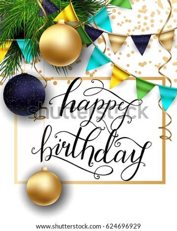 Greeting Card Winter Happy Birthday Golden Stock Vector (Royalty ...