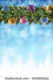 Greeting card with wishes for holiday season with border of christmas tree branches, decorated with christas balls, with snow on blue background. EPS 10 contains transparency