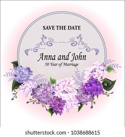 Greeting  card wiyh the round  lilac frame. Wedding invitation template