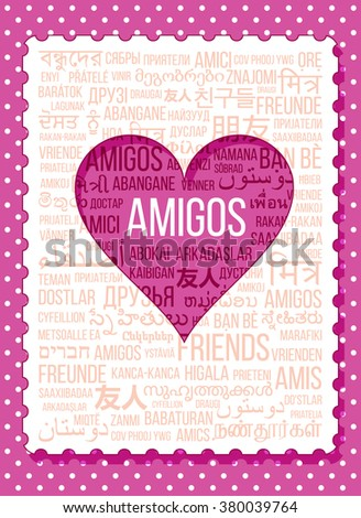 Greeting card words friends different languages stock vector greeting card of the words friends in the different languages of the world m4hsunfo