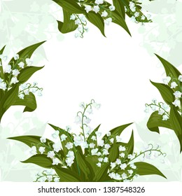 Greeting card.Frame with Lilly of the valley - May bells,Convallaria majalis with green leaves on a white background. Spring flowers bouquet.Hand drawn realistic vector illustration.