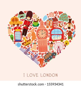 Greeting card-I love London. With many vector cute elements Stylish design element in bright colors