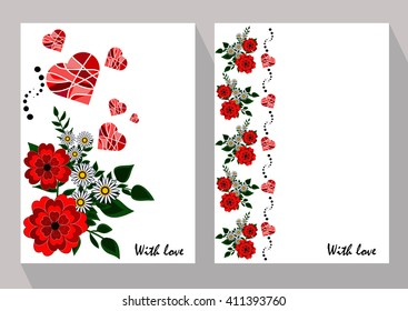 Greeting cards with abstract chamomiles and red flowers in ethnic style for declarations of love, a gift for a loved one or a donation for the holiday or other