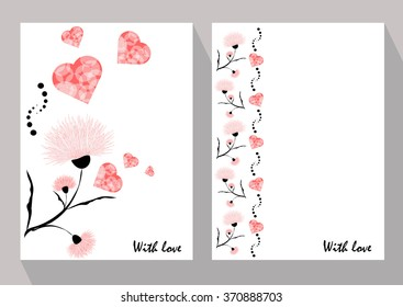 Greeting cards with abstract pink flowers in ethnic style for declarations of love, a gift for a loved one or a donation for the holiday or other