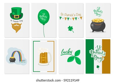 Greeting cards, banners, backgrounds, posters with Saint Patrick s day symbols. Vector set. National Irish holiday.
