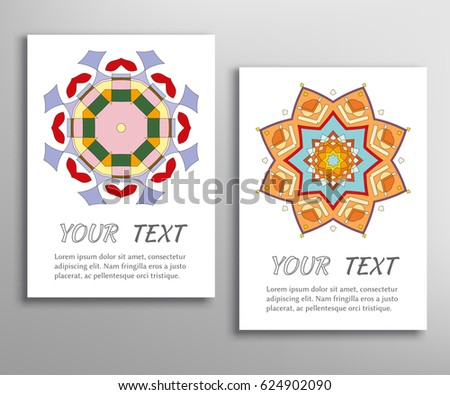 Greeting Cards Or Birthday Invitations Collection Geometric Mandala Ornament Stylized Floral Round Pattern Colorful Background Ethnic Arabic Indian