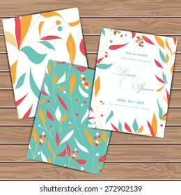 Greeting cards with floral elements on wood plank background. Place for your text. Use for invitations, announcement cards. Seamless pattern masked. Vector illustration.