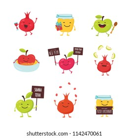 Greeting cards with funny cartoon characters for Rosh Hashanah, Jewish holiday. honey jar, apples and pomegranates. Vector illustration design . happy and sweet new year in Hebrew