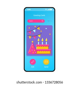 Greeting cards gallery smartphone interface vector template. Mobile app page blue design layout. Birthday, holiday ecard maker, editor screen. Flat UI for application. Party invitation. Phone display