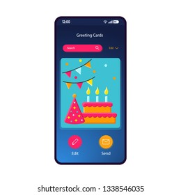 Greeting cards gallery smartphone interface vector template. Mobile app page blue gradient design layout. Birthday ecard, party invitation maker, editor screen. Flat UI for application. Phone display