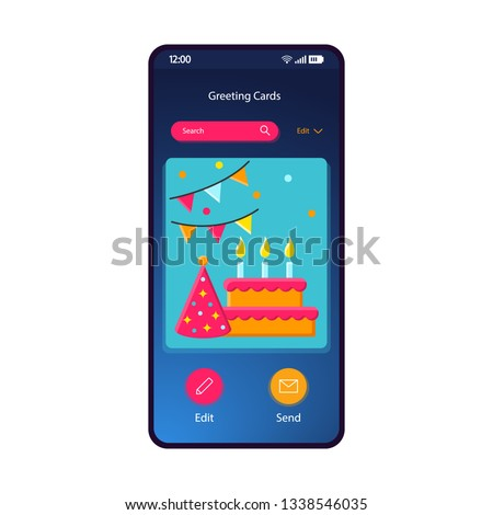 Greeting Cards Gallery Smartphone Interface Vector Template Mobile App Page Blue Gradient Design Layout Birthday Ecard Party Invitation Maker