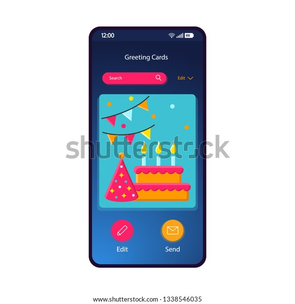 Greeting Cards Gallery Smartphone Interface Vector Template Mobile App Page Blue Gradient Design Layout