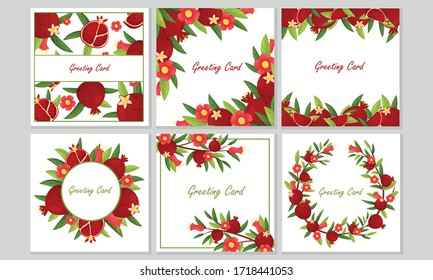 Greeting Cards with Pomegranate Leaves and Fruit Framing the Border and Arranged in Wreath Vector Set