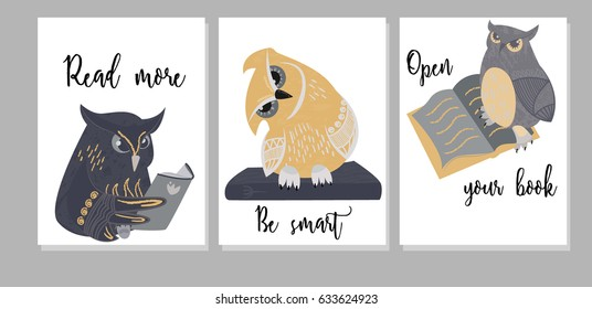 Greeting cards template with hand drawn owls and books with text