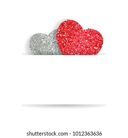 Greeting cards for Valentine's Day, Birthday, Mother's Day with cute hearts. Heart with dust glitters.
