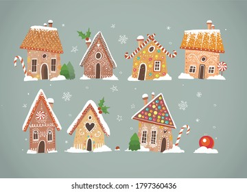 Greeting christmas card with cute gingerbread houses.