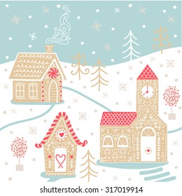 Greeting christmas card with cute vector gingerbread houses