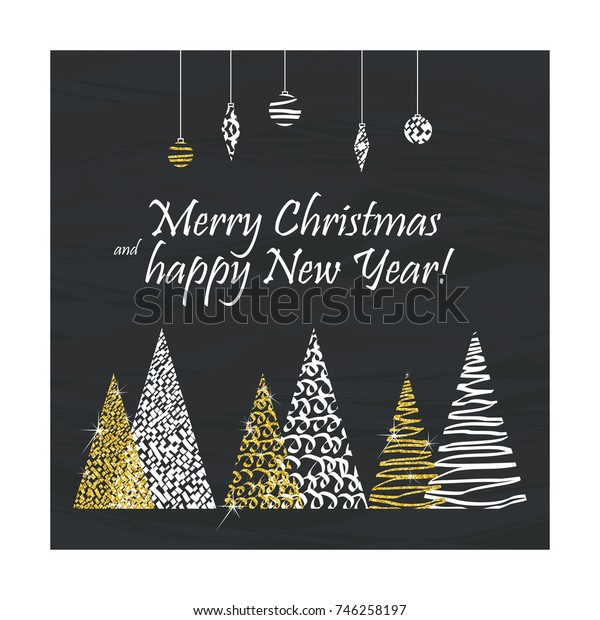 Greeting Christmas card in a minimalistic abstract luxury style. Golden Xmas trees on black background.