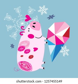 Greeting Christmas card with a pig in love on a blue background with snowflakes