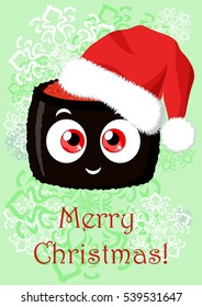Greeting Christmas illustration with the image of cartoon funny sushi. Can be used for greetings in mobile and computer games, in cafes, restaurants or other