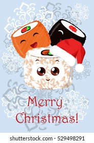 Greeting Christmas illustration with the image of sushi. Can be used for greetings in mobile and computer games, online, in cafes, restaurants and other