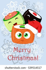 Greeting Christmas illustration with the sushi. Can be used for mobile and computer games, in cafes, restaurants or other