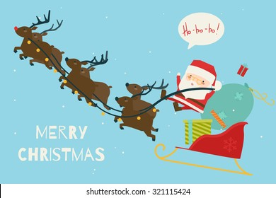 Greeting Christmas and New Year card. Vector
