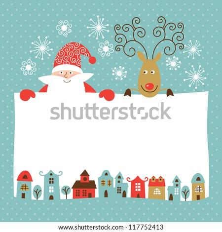 Greeting Christmas New Year Card Stock Vector (Royalty Free ...