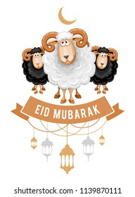 Greeting design for the celebration of Muslim community festival Eid Al Adha. Card with cartoon sacrificial sheeps and arabic lamps. Vector illustration.