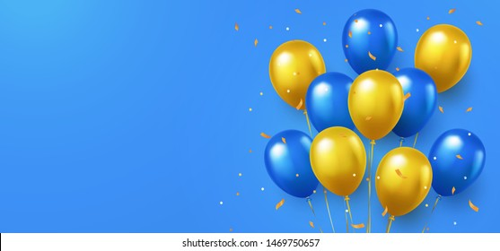 Greeting design in national blue and yellow colors with realistic flying helium balloons. Celebration, festival background, greeting banner, card, poster.