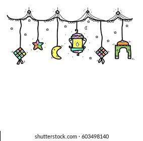 greeting of eid mubarak doodle