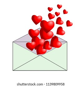 Greeting e-mail on Valentine's Day. Open envelope with flying red hearts. Love letter. Symbol networking. Vector illustration
