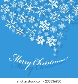 Greeting flat blue card with swirl carved from a variety of snowflakes and shadow. Merry Christmas! Happy New Year!