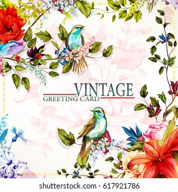 Greeting floral vintage card with flowers. Roses, wild flower, cornflower, poppy, lily of the valley and nightingale. This template can be used as other type of invitations and holidays. Vector.