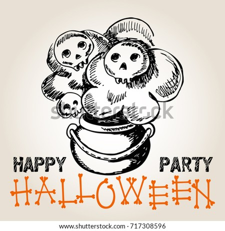 Greeting Halloween Party Template Magic Potion Stock Vector Royalty