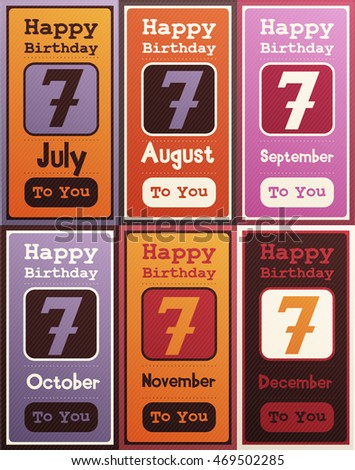 Greeting Happy Birthday Card Date Seven Of Birth By Month July August September