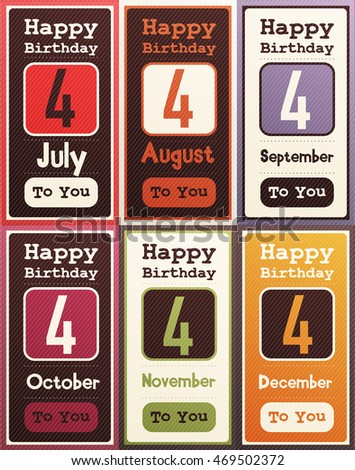 Greeting Happy Birthday Card Date Four Of Birth By Month July August September